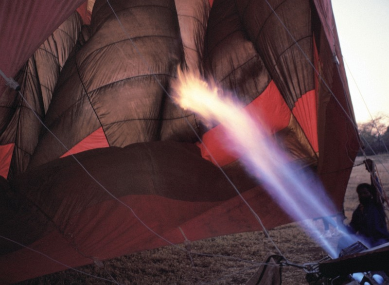 Erhitzung eines Heißluftballons in Südafrika