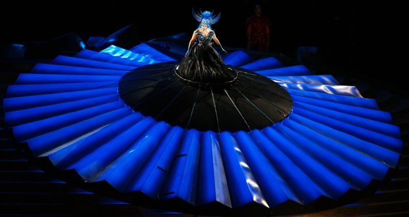 """Fotoprobe """"Die Zauberflöte"""" Szene 27 Königin der Nacht (Kathryn Lewek) - Die Zauberflöte 2014 © Bregenzer Festspiele/Karl Forster"""
