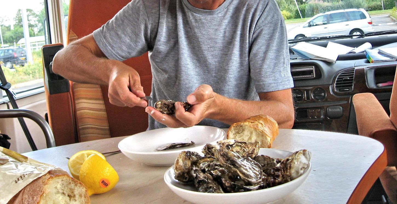 Austern,  im Wohnmobil gegessen