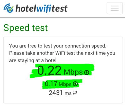 Beispiel: Hier kann man die Geschwindigkeit des Hotel-WLANs testen.