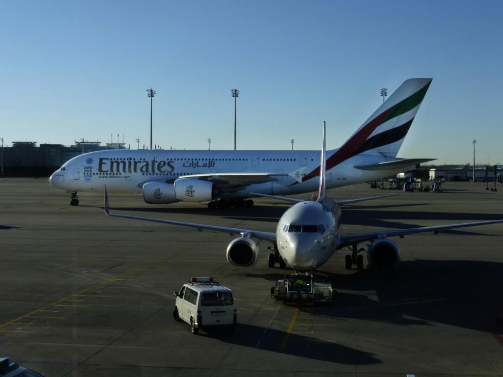 Emirates Airbus A380 am Flughafen München