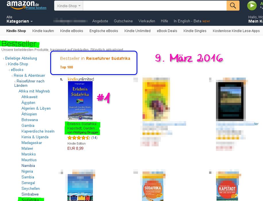 NEU und sogleich Bestseller Südafrika Ebook: Platz 1 bei Amazon