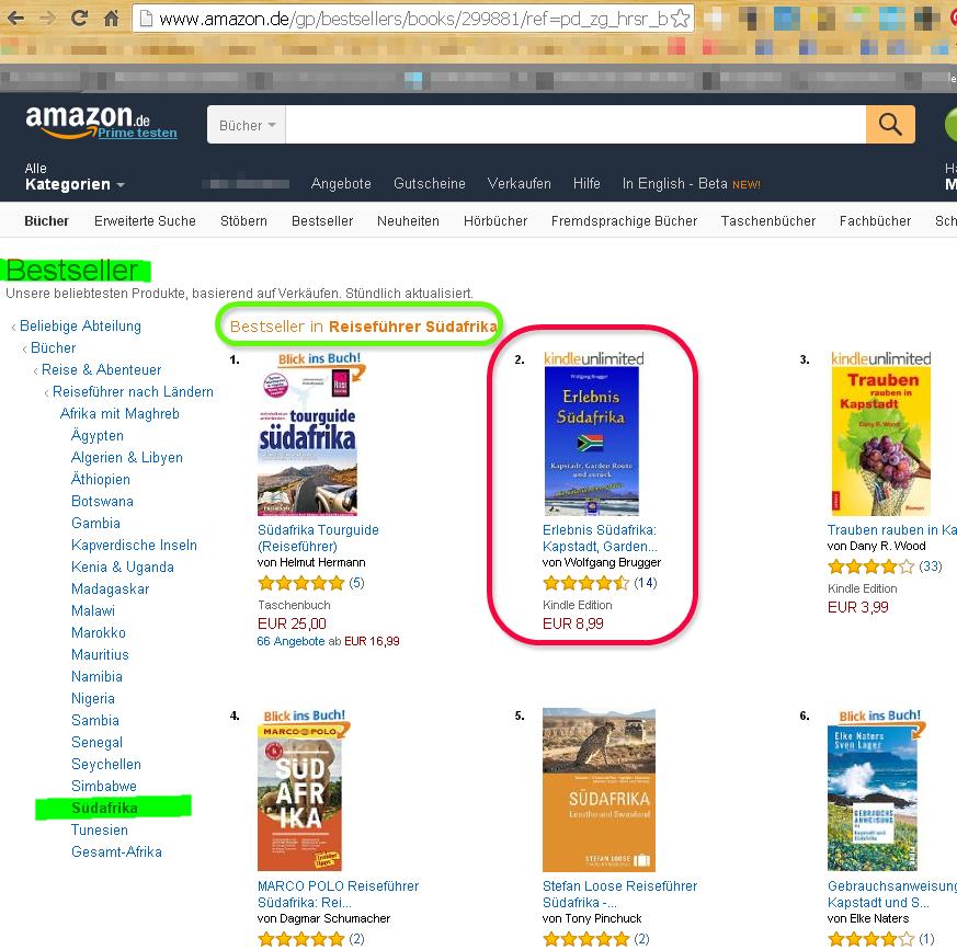 Erlebnis Südafrika - Kapstadt, Garden Route und zurück.Bestseller in ReiseFührer Südafrika (Papier und Ebook) Nummer 2