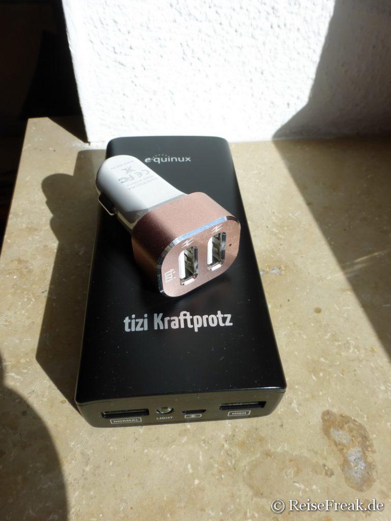 tizi Kraftprotz und Turbolader: Akku-Ladegerät und USB-Ladegerät für den Zigarettenanzünder im Auto *