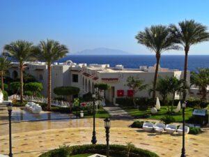 Sharm-el-Sheikh, Ägypten, Sinai, mit Blick vom Sunrise Montemare Hotel auf Insel Tiran