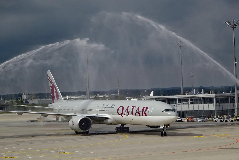 B777-300ER, Flugzeug, Vorstellung QSuite von Qatar Airways am Airport Flughafen München, 14.09.2018 - 13.26.59